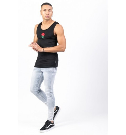 EMBROIDERED ROSE TANK BLACK